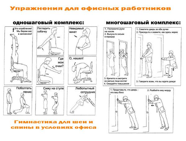 упражнения для шеи и спины в условиях офиса