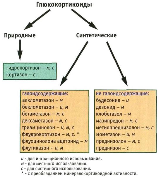 классификация глюкокортикоидов