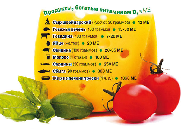 перечень продуктов, богатых витамином Д.