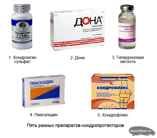 различные препараты-хондропротекторы