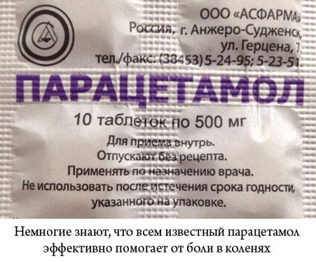 парацетамол от боли в коленях