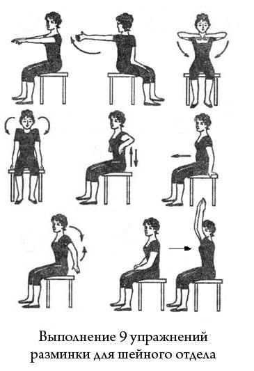 выполнение упражнений разминки для шеи