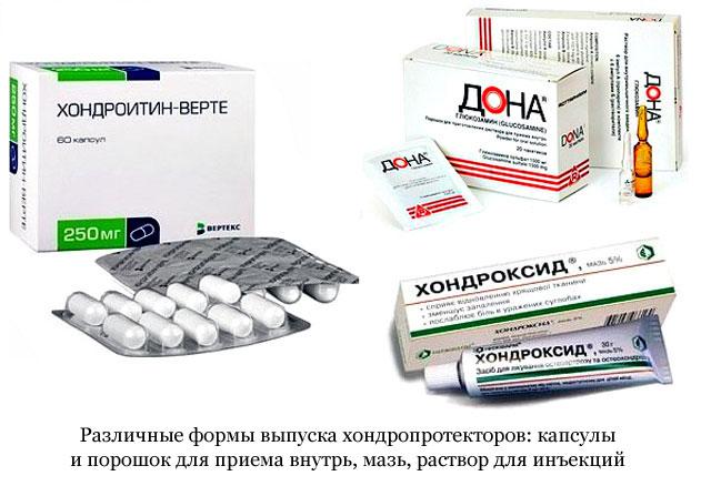 разновидности лекарственных форм хондропротекторов