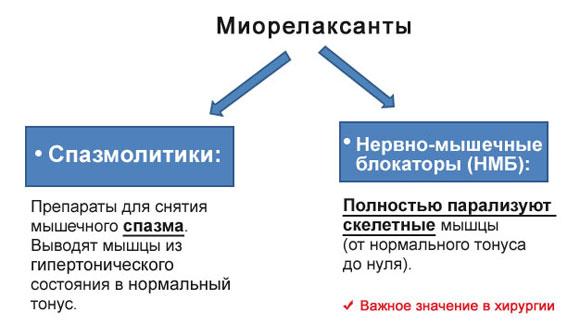 2 вида миорелаксантов