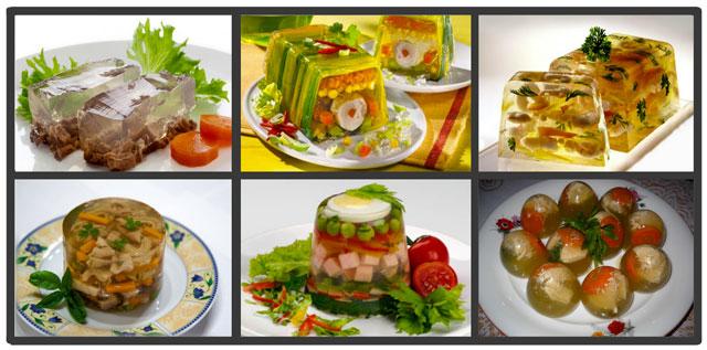 мясные, рыбные и овощные блюда с желатином