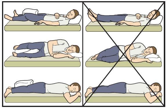 правильное положение при сне и отдыхе