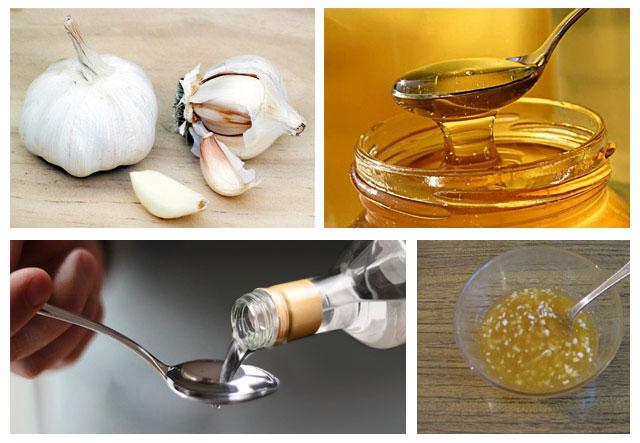 приготовление средства из чеснока, меда и водки для обезболивания суставов