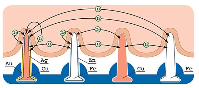 биоэлектрические импульсы между иглами аппликатора